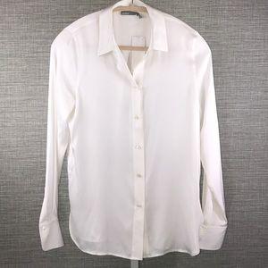 NWT Vince Long Sleeved White Silk Blouse - 6